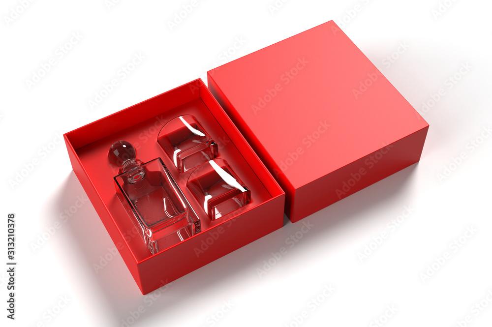 Fototapeta Whiskey decanter bottle and glass Gift Box for branding and mock up. 3d render illustration.
