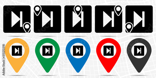 Next track button symbol sign icon in location set Wallpaper Mural