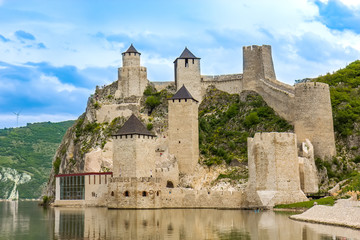 Restored medieval Golubac castle in Djerdap gorge in Serbia