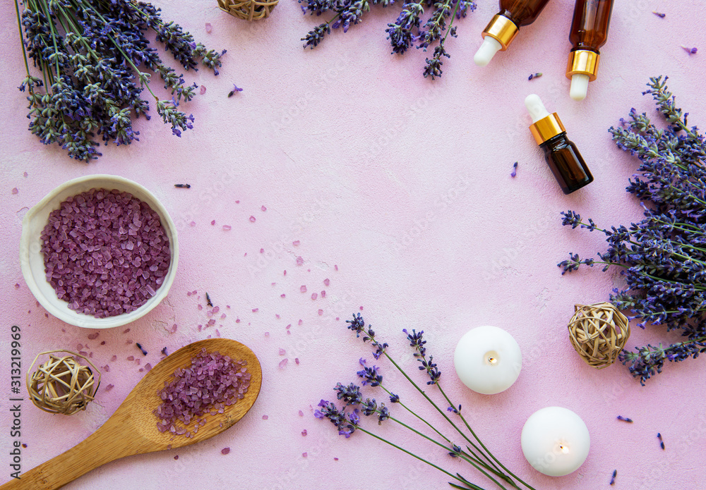 Fototapeta flat lay composition with lavender flowers and natural cosmetic