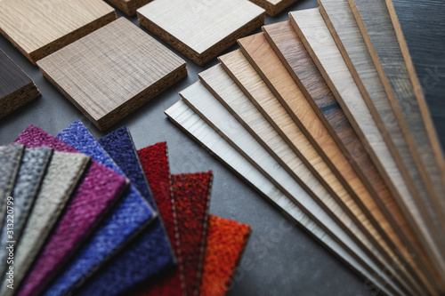 Obraz flooring and furniture material samples for interior design project - fototapety do salonu
