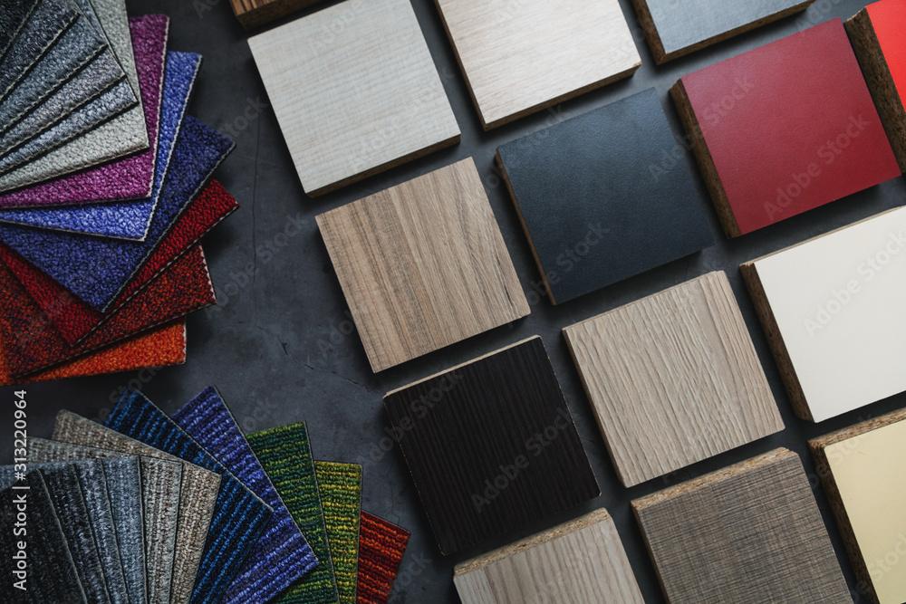 Fototapeta flooring and laminate furniture material samples for interior design project