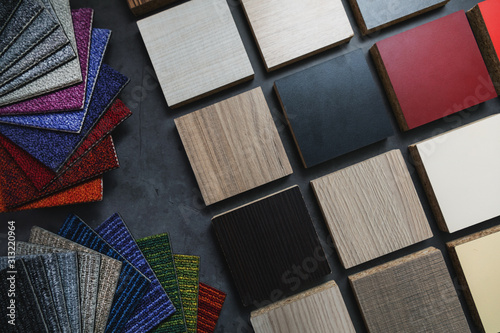 Obraz flooring and laminate furniture material samples for interior design project - fototapety do salonu