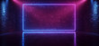 canvas print picture - Dark Neon Laser Beam Purple Blue Stage Show Dance Club Retro Future Sci Fi Brick Walls Spot Lights Podium Garage Underground Virtual Cyber 3D Rendering