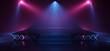 canvas print picture - Dark Neon Laser Beam Purple Blue Stage Show Dance Club Retro Future Sci Fi Brick Walls Spot Lights Podium Garage Underground Virtual Cyber 3D Rendering