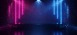 Leinwanddruck Bild - Dark Neon Laser Beam Purple Blue Stage Show Dance Club Retro Future Sci Fi Brick Walls Spot Lights Podium Garage Underground Virtual Cyber 3D Rendering