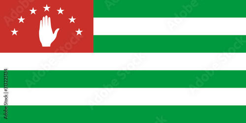 Photo Abkhazia flag in proportions and colors vector