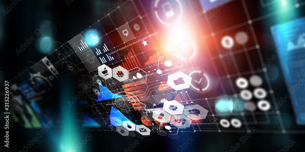 Fototapeta Media technologies in business. Mixed media