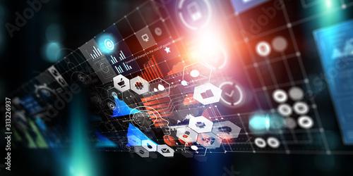 Fototapeta Media technologies in business. Mixed media obraz