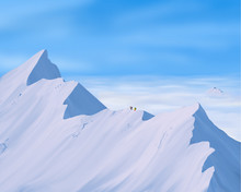 Climber Reaching The Summit Of Snow Mountain. Mountain Peak Trekking.success And Challenge Concepts . Hand Drawn Illustration Background With Space For Copy
