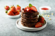 Homemade Chocolate Pancakes With Strawberry Sauce