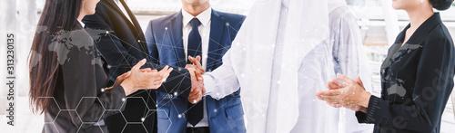 Fotografía  Successful businessmen handshake partner with arab businessman