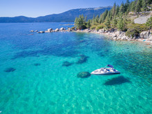 Aerial Of Boat In Emerald Bay,...