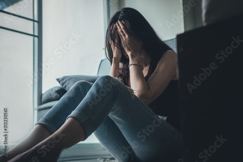 Photo panic attacks alone young woman sad fear stressful depressed emotion