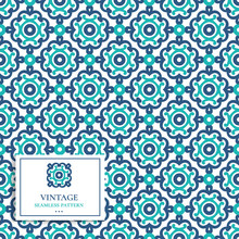 Green And Blue Vintage Vector Seamless Pattern, Wallpaper. Elegant Classic Texture. Luxury Ornament. Great For Fabric And Textile, Wallpaper, Or Any Desired Idea.
