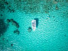 Aerial Of Boat In Emerald Bay, Lake Tahoe, Nevada