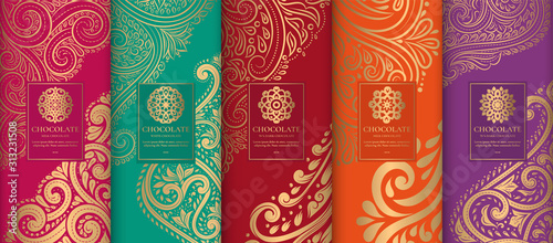 Canvastavla  Colorful packaging design of chocolate bars