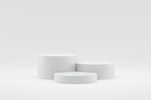 Empty Podium Or Pedestal Display On White Background With Cylinder Stand Concept. Blank Product Shelf Standing Backdrop. 3D Rendering.