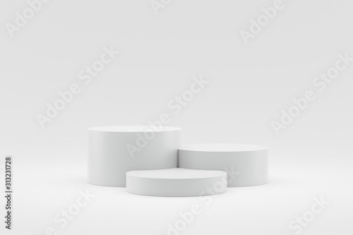 Fotografía Empty podium or pedestal display on white background with cylinder stand concept