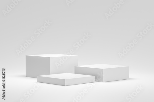 Fotografie, Obraz  Empty podium or pedestal display on white background with box stand concept