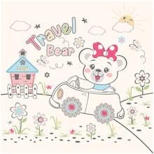 Cute Bear Travel, Vector Illus...
