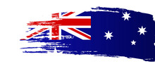 Australia Day Banner. Brush Stroke In Colors Of The Australian National Flag Vector Illustration