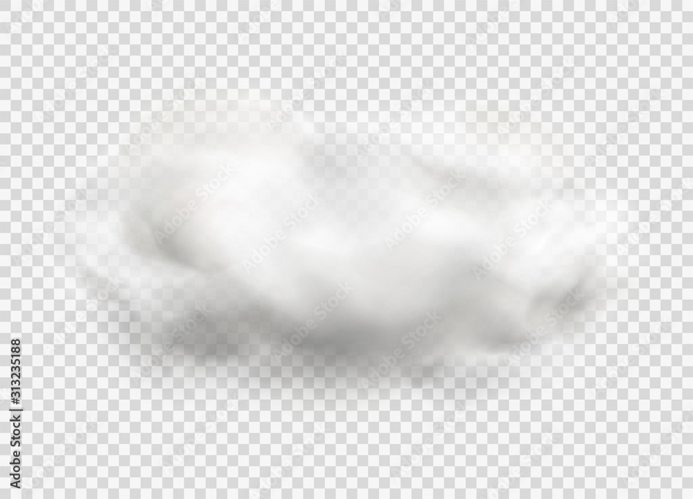 Fototapeta Cloud of fog, smoke, urban smog. Realistic isolated cloud on transparent background.