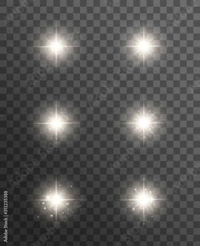 Glowing lights effect, flare, explosion and stars. Wallpaper Mural
