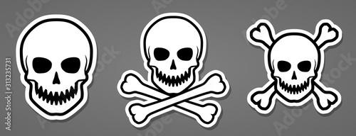 Photo  Evil human sharp teeth skull with crossbones sticker vector illustration