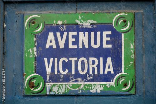 Avenue victoria street sign, Photo image a Beautiful panoramic view of Paris Met Wallpaper Mural