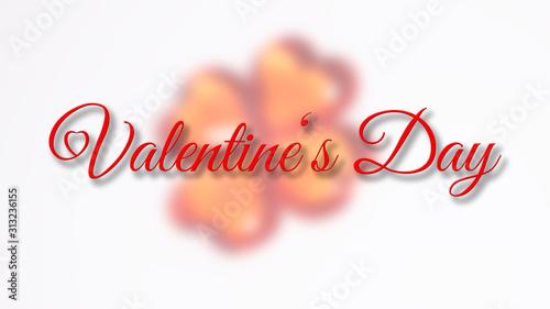 Photo  Valentins Tag Schriftzug vor unscharfem Herzen als Kleeblatt