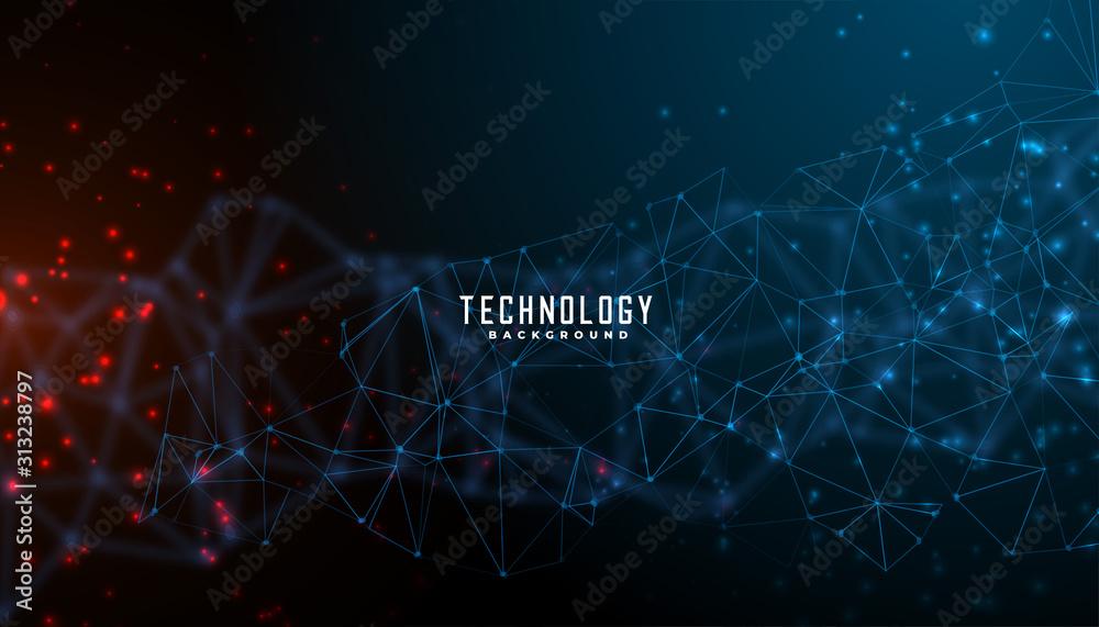 Fototapeta digital technology and particles mesh banner design