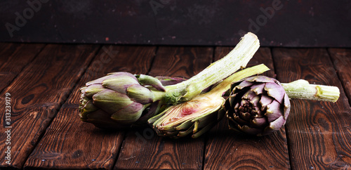 artichokes on rustic background Canvas Print