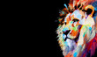 Oil painting of a beautiful big mixed colored wild lion in profile