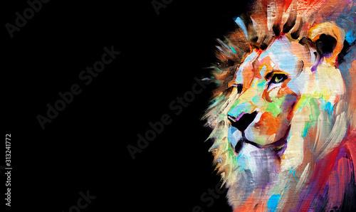 Obraz na plátně  Illustrazione tradizionale con colori ad olio di un Leone su sfondo nero