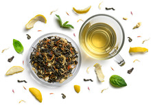 Green Tea With Natural Aromatic Additives And A Cup. Top View On White Background