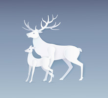 Deer And Fawn With Full Side V...