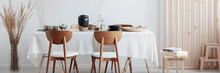 Wooden Chairs And Long Table I...