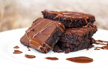 Homemade Brownie Served With C...