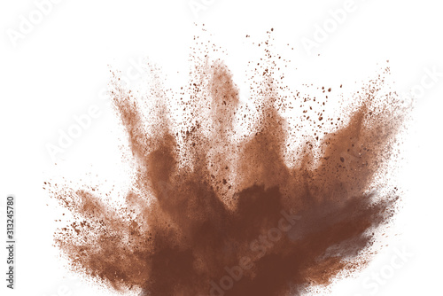 Fototapeta Brown color powder explosion isolated on white background. Colored cloud. Colorful dust explode. Paint Holi. obraz