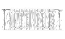 Vector Pen And Ink Drawing Or Illustration Of Closed Or Locked Wooden Garden, House Or Entrance Door Or Gate.