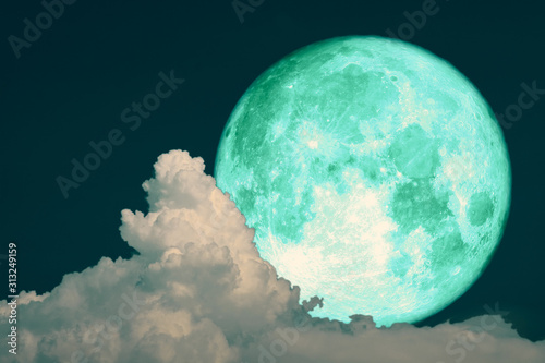 green strawberry moon back on silhouette heap cloud on night sky Wallpaper Mural