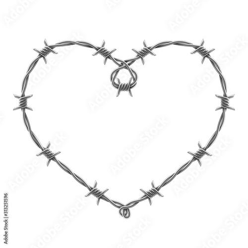 Heart symbol made of spiraling barbed wires Fototapeta