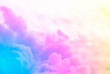 Fototapeta Rainbow - sky and cloud background with a pastel color.