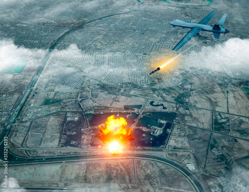 US drone attack on the convoy of the Iranian general Qassem Soleimani, 3d render Slika na platnu