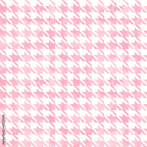 Photo Abstract watercolor grunge hand painted houndstooth monochrome  seamless pattern