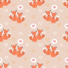 Cute Couple Fox And Heart Seam...