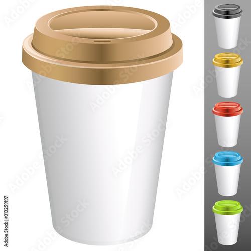 Obraz realistisch wirkender Kaffebecher - Vektor Illustration - fototapety do salonu