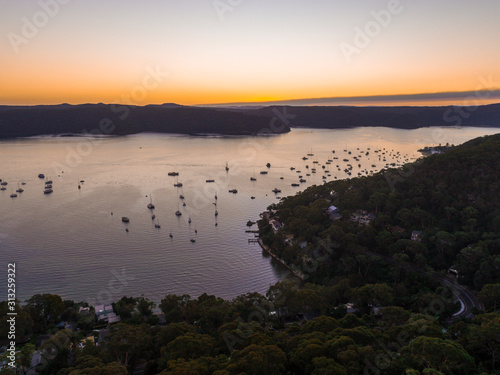 Boats sailing out of a channel in Pittwater, Sydney Slika na platnu
