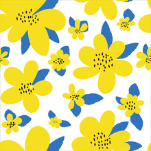 Seamless Floral Pattern. Bright Yellow Flowers, Leaves In A Simple Hand-drawn Style On A White Background. Modern Abstract Design. Trendy Botanical Texture, Ornament. Vector Illustration.